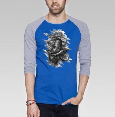 Феникс вырывается из заточения в башне. - Футболка мужская с длинным рукавом синий / серый меланж, графика, Популярные