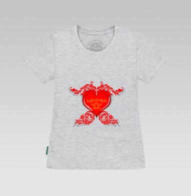 Футболка женская серый меланж - Стеклянное серце
