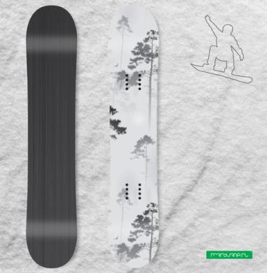 Лес. туман - Наклейки на доски - сноуборд, скейтборд, лыжи, кайтсерфинг, вэйк, серф