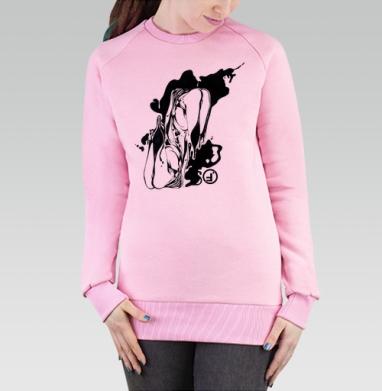 Cвитшот женский, толстовка без капюшона розовый - Ласт
