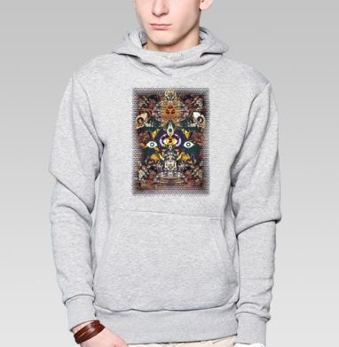 Толстовка мужская, накладной карман серый меланж - Оккультизм