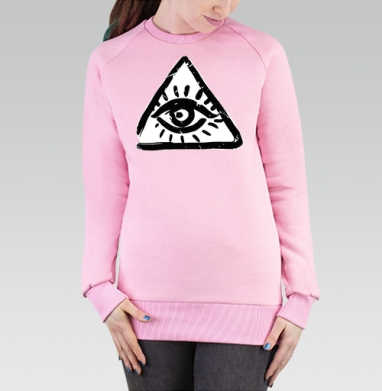 Cвитшот женский, толстовка без капюшона розовый - Масоны. глаза (жен.)