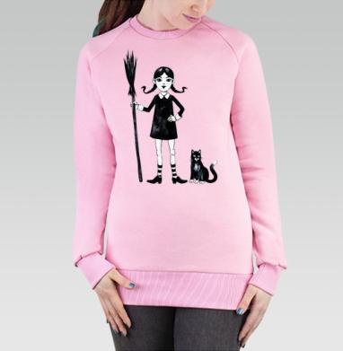 Cвитшот женский, толстовка без капюшона розовый - Ведьмочка