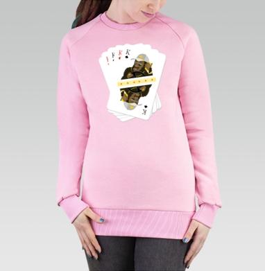 Cвитшот женский, толстовка без капюшона розовый - Каре