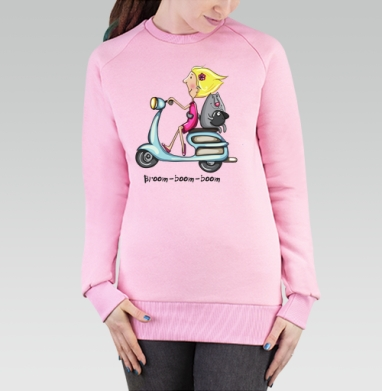 Cвитшот женский, толстовка без капюшона розовый - Broom boom boom