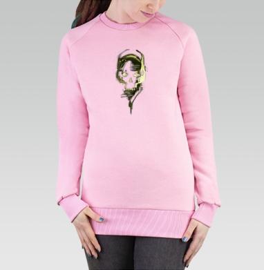 Cвитшот женский розовый  320гр, начес - череп в наушниках