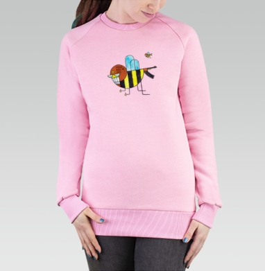 Cвитшот женский розовый  320гр, стандарт - Неправильные пчелы