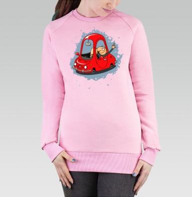 Cвитшот женский розовый  320гр, стандарт - Улыбайтесь на дорогах