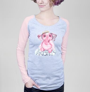 Pink elephant princess - Футболки с длинным рукавом женские. Новинки