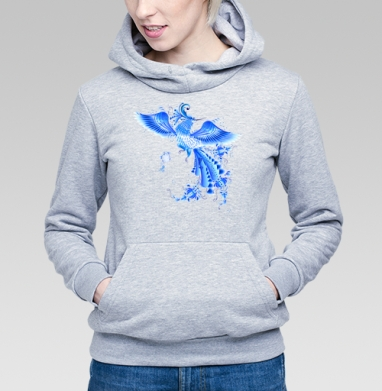 Синяя птица удачи в стиле гжельской росписи, Толстовка Женская серый меланж 340гр, теплая