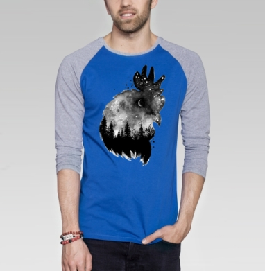 Ночной петух - Футболка мужская с длинным рукавом синий / серый меланж, акварель, Популярные