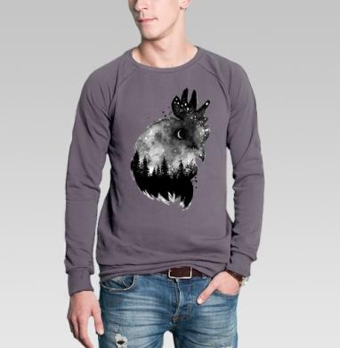 Свитшот мужской без капюшона тёмно-серый - Ночной петух