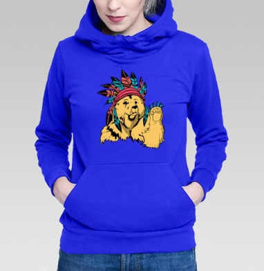 Медведь индеец - Толстовки женские с мишками, худи с мишкой.