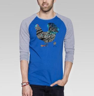 Курочка - Футболка мужская с длинным рукавом синий / серый меланж, новый год, Популярные