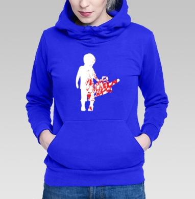Толстовка Женская синяя - Мальчик с бензопилой