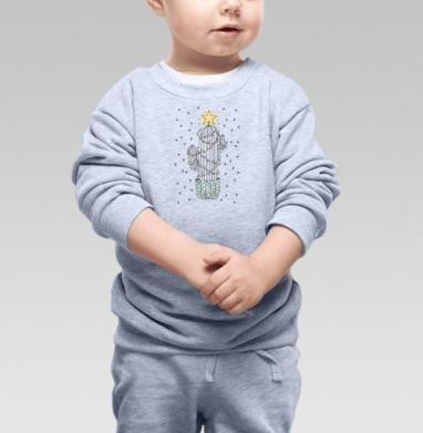 Новогодний кактус - Cвитшот Детский серый меланж, Новинки