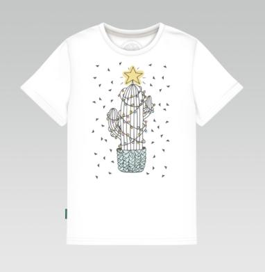 Детская футболка белая - Новогодний кактус