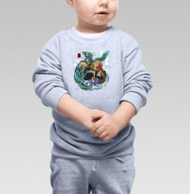 БАНЗАЙ, Cвитшот Детский серый меланж