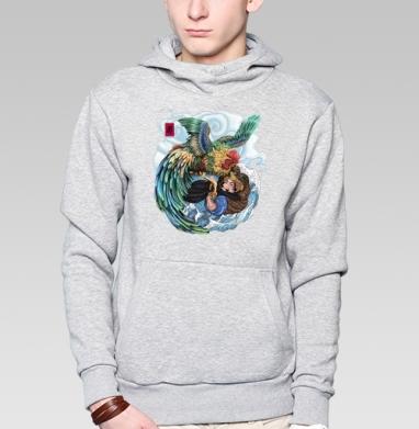 БАНЗАЙ, Толстовка мужская, накладной карман серый меланж