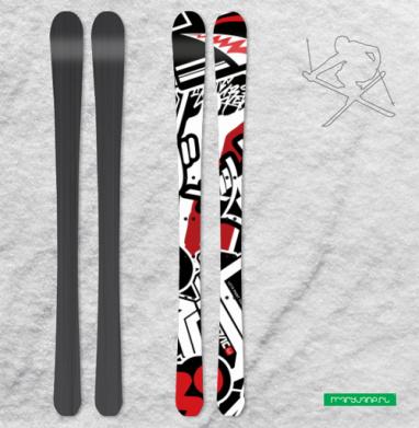 Чёрное красное белое - Наклейки на лыжи