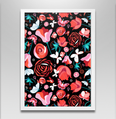 Цветочный принт с бабочками - Постеры, узор, Популярные