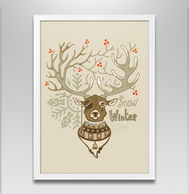 Олень зимний на бежевом - Постеры, новый год, Популярные