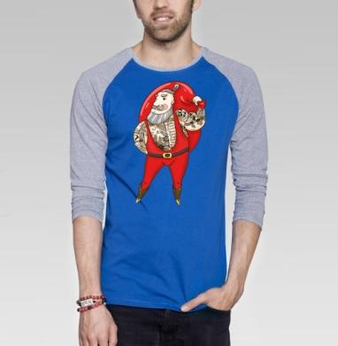 Модный Санта - Футболка мужская с длинным рукавом синий / серый меланж, Хипстер
