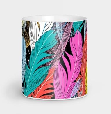 Разноцветные графические перья - узор, Новинки