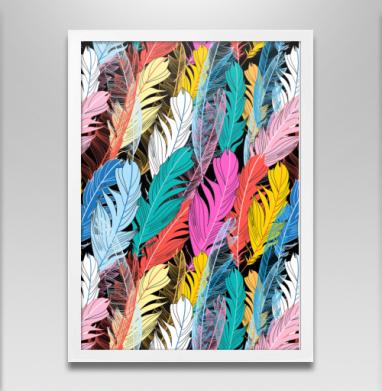 Разноцветные графические перья - Постеры, узор, Популярные