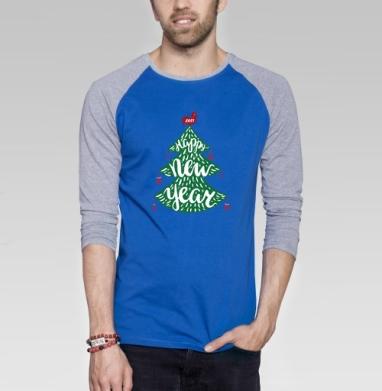 Зеленая елка - Футболка мужская с длинным рукавом синий / серый меланж, Символ