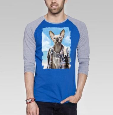 Сфинкс турист - Футболка мужская с длинным рукавом синий / серый меланж, лето, Популярные