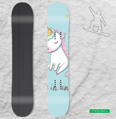 Превращение в единорога - Наклейки на доски - сноуборд, скейтборд, лыжи, кайтсерфинг, вэйк, серф