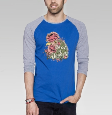 Курочка в цветах - Футболка мужская с длинным рукавом синий / серый меланж, текстура, Популярные