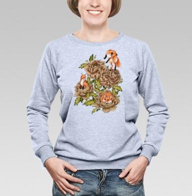 Цветочные лисы, Cвитшот женский, толстовка без капюшона  серый меланж