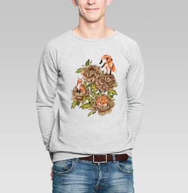 Цветочные лисы, Свитшот мужской без капюшона серый меланж