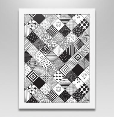 Расписные квадраты, Постер в белой раме