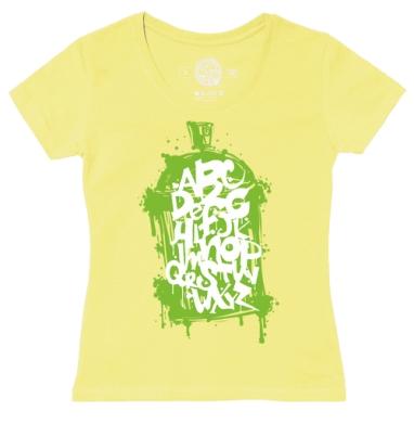 Футболка женская желтая - Западный алфавит в стиле граффити
