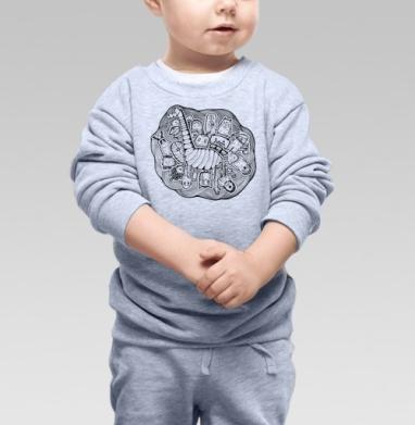 Дудл с жирафом, Cвитшот Детский серый меланж