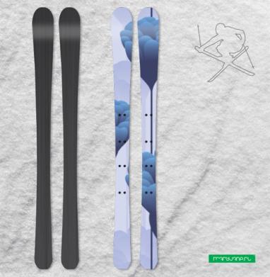 Синие бутоны - Наклейки на лыжи