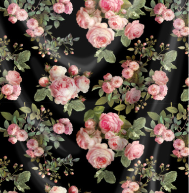 Розовые розы на черном фоне - Печать на ткани