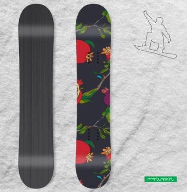 Красные гранаты на темном - Наклейки на доски - сноуборд, скейтборд, лыжи, кайтсерфинг, вэйк, серф