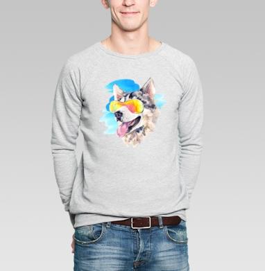 Хаски сноубордист - Купить мужские свитшоты с акварелью в Москве, цена мужских свитшотов с акварелью  с прикольными принтами - магазин дизайнерской одежды MaryJane