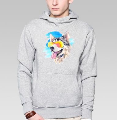 Хаски сноубордист, Толстовка мужская, накладной карман серый меланж