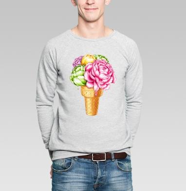 Любителям мороженного, Свитшот мужской без капюшона серый меланж