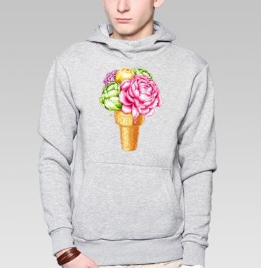 Любителям мороженного, Толстовка мужская, накладной карман серый меланж