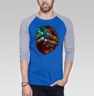 Пробуждение разума - Футболка мужская с длинным рукавом синий / серый меланж, психоделика, Популярные