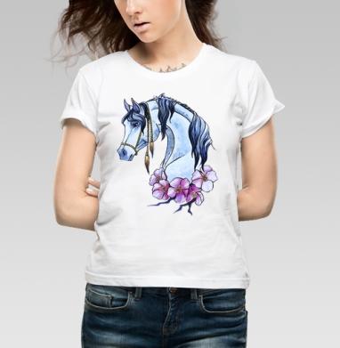 Футболка женская белая 160гр - Нарисованная лошадь)