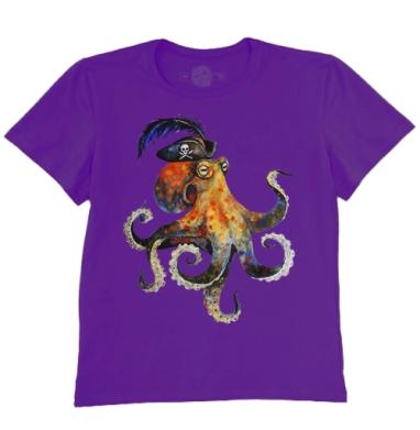 Футболка мужская темно-фиолетовая - Пиратский осьминог