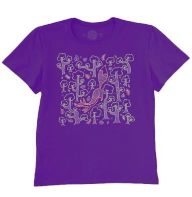 Футболка мужская темно-фиолетовая - Летняя лисичка