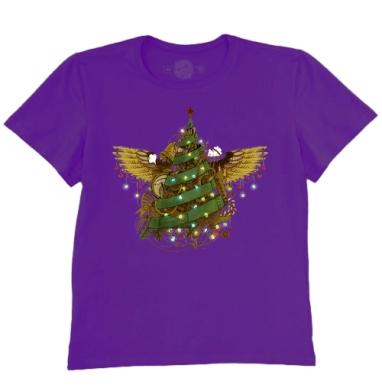 Футболка мужская темно-фиолетовая - Стимпанк ёлочка